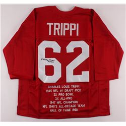 "Charley Trippi Signed Career Highlight Stat Jersey Inscribed ""HOF 68"" (JSA COA)"