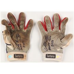 """Carlos Santana Signed Pair of Game-Used Lousiville Slugger TPX Baseball Gloves Inscribed """"Game Used"""