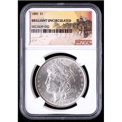 1886 Morgan Silver Dollar - Stage Coach Label (NGC Brilliant Uncirculated)