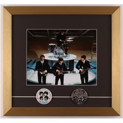 The Beatles 15x16 Custom Framed Photo Display with (2) Vintage 1960's Pins
