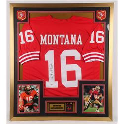Joe Montana Signed 32x36 Custom Framed Jersey Display with Super Bowl Pin (PSA COA)