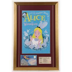 "Walt Disney's ""Alice in Wonderland"" 17x26 Custom Framed Print Display with Postcard Booklet  Ticket"