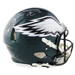 "Carson Wentz  Zack Ertz Signed Eagles Full-Size Authentic On-Field Speed Helmet Inscribed ""A01"" (Fan"