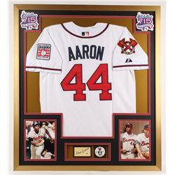 Hank Aaron Signed Braves 32x36 Custom Framed Cut Display with Vintage Pin (PSA COA)