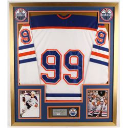 Wayne Gretzky Signed Oilers 32x36 Custom Framed Cut Display with Vintage Pin (PSA COA)