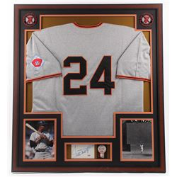 Willie Mays Signed Giants 32x36 Custom Framed Cut Display with 1950's All-Star Game Pin (PSA COA)