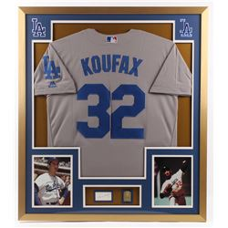 Sandy Koufax Signed Dodgers 32x36 Custom Framed Cut Display with Solid Brass Hall of Fame Plaque (PS