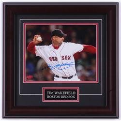 Tim Wakefield Signed Red Sox 16x16 Custom Framed Photo Display (YSMS Hologram)