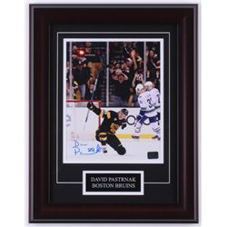 David Pastrnak Signed Bruins 14x18 Custom Framed Photo Display (Pastrnak COA)
