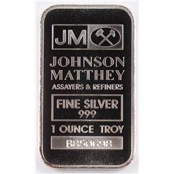 "1 Troy Oz .999 Fine Silver ""Johnson Matthey"" Bullion Bar"