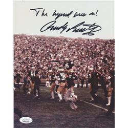 "Rudy Ruettiger Signed Notre Dame Fighting Irish 8x10 Photo Inscribed ""The Legend Lives On!"" (JSA COA"