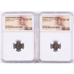 Lot of (2) NGC Graded (CH VF) Arcadius AD 383-408 Ancient Roman Coins