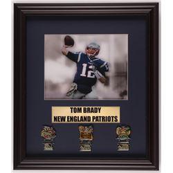 Tom Brady Patriots 16.5x19 Custom Framed Photo Display with (3) Super Bowl Champion Pins