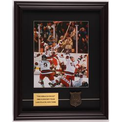 """1980 """"Miracle on Ice"""" Team USA 16x20 Custom Framed Photo Display with 1980 Lake Placid Brass Emblem"""