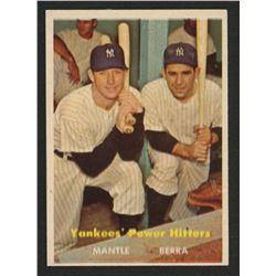 1957 Topps #407 Yankees Power Hitters Mickey Mantle / Yogi Berra