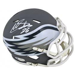 Miles Sanders Signed Eagles AMP Alternate Speed Mini Helmet (Beckett COA)