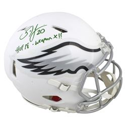 """Brian Dawkins Signed Eagles Matte White Full-Size Authentic On-Field Speed Helmet Inscribed """"HOF 18"""""""