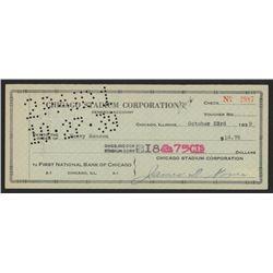 James D. Norris Signed 1939 Personal Bank Check (JSA COA)