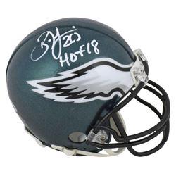 """Brian Dawkins Signed Eagles Mini Helmet Inscribed """"HOF 18"""" (Beckett COA)"""
