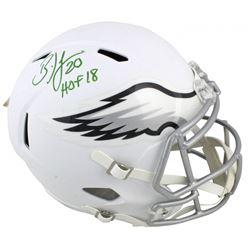 """Brian Dawkins Signed Eagles Matte White Full-Size Speed Helmet Inscribed """"HOF 18"""" (Beckett COA)"""