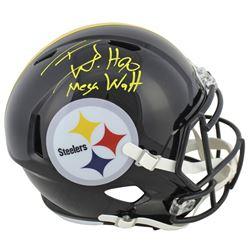 """T.J. Watt Signed Steelers Full-Size Speed Helmet Inscribed """"Mega Watt"""" (Beckett COA)"""