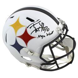 """T.J. Watt Signed Steelers Full-Size AMP Alternate Speed Helmet Inscribed """"Mega Watt"""" (Beckett COA)"""