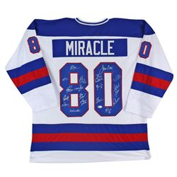 """1980 """"Miracle on Ice"""" Hockey Jersey Team-Signed by (18) with Mike Eruzione, Jim Craig, Craig Patrick"""