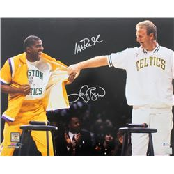 Magic Johnson  Larry Bird Signed 16x20 Photo (Beckett COA)