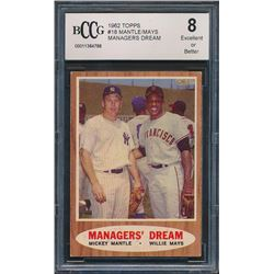 1962 Topps #18 Managers Dream Mickey Mantle / Willie Mays (BCCG 8)