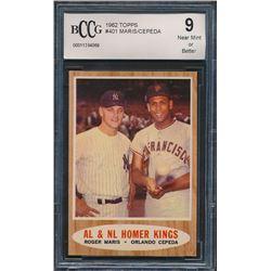1962 Topps #401 AL  NL Homer Kings Roger Maris / Orlando Cepeda (BCCG 9)