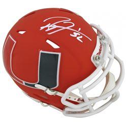Ray Lewis Signed Miami Hurricanes AMP Alternate Speed Mini-Helmet (Beckett COA)