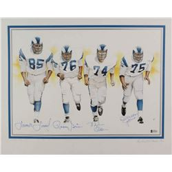 "Rams ""Fearsome Foursome"" LE 16x20 Lithograph Signed by (4) with Deacon Jones, Merlin Olsen, Rosey Gr"