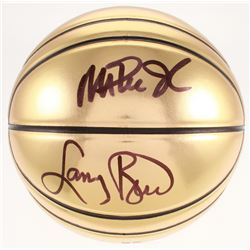 Larry Bird  Magic Johnson Signed Molten Basketball (Beckett COA)
