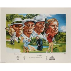 "Gene Sarazen  Gary Player Signed ""The Grand Slam Champions of Golf"" 22x29 Lithograph (Beckett LOA)"