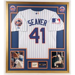 Tom Seaver Signed Mets 32x36 Custom Framed Cut Display (PSA)
