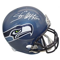 Shaun Alexander Signed Seahawks Throwback Full-Size Helmet (Beckett COA)