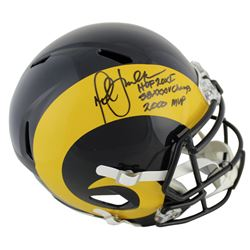 "Marshall Faulk Signed Rams Full-Size Speed Helmet Inscribed ""HOF 20XI"", ""SB XXXIV Champs"",  ""2000 MV"