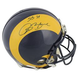 "Isaac Bruce Signed Rams Full-Size Authentic On-Field Helmet Inscribed ""SB 34"" (Beckett COA)"