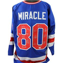 "1980 ""Miracle on Ice"" Hockey Jersey Team-Signed by (17) with Jim Craig, Craig Patrick, Neal Broten,"