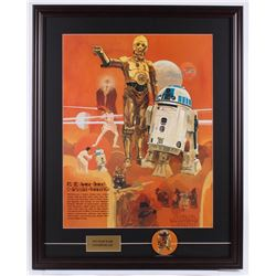 Vintage 1977 Coca Cola Star Wars 24x3.5 Custom Framed Poster Display With Vintage 1977 Pin Back