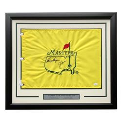 Jack Nicklaus  Gary Player Signed Masters 22x27 Custom Framed Golf Flag Display (JSA LOA)