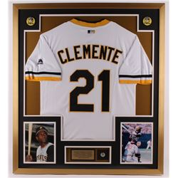 Roberto Clemente Pirates 32x36 Custom Framed Jersey weith 1950's Pirates Pin