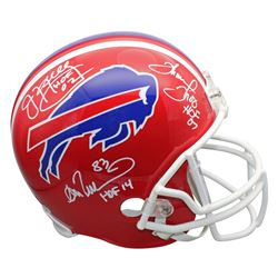 "Jim Kelly, Thurman Thomas  Andre Reed Signed Bills Throwback Full-Size Helmet Inscribed ""HOF 02"", ""H"