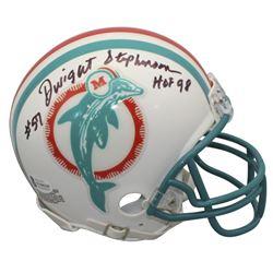"Dwight Stephenson Signed Dolphins Throwback Mini Helmet Inscribed ""HOF 98"" (Beckett COA)"