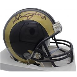 Steven Jackson Signed Rams Throwback Mini Helmet (Beckett COA)