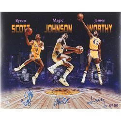 Magic Johnson, James Worthy,  Byron Scott Signed LE Lakers 16x20 Photo (PSA COA)