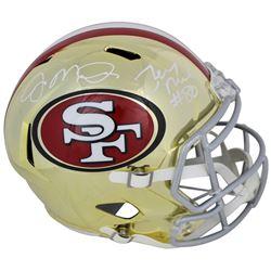 Joe Montana  Jerry Rice Signed San Francisco 49ers Chrome Speed Full-Size Helmet (Beckett COA)