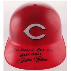 """Pete Rose Signed Reds Full-Size Batting Helmet Inscribed """"I'm Sorry I Bet On Baseball"""" (Fiterman Spo"""