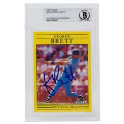 George Brett Signed 1991 Fleer #552 (BGS Encapsulated)