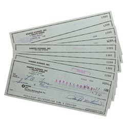 Lot of (10) Ralph Kiner Signed Personal Checks (JSA ALOA)